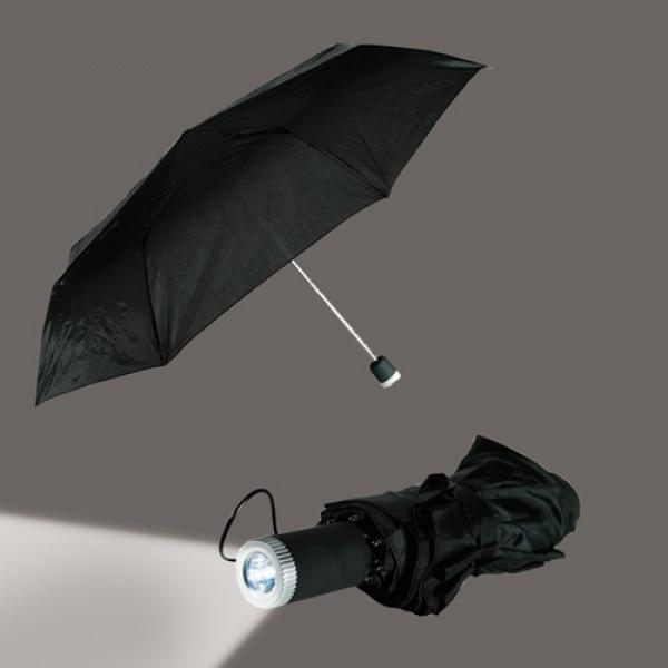 Paraply med lommelykt