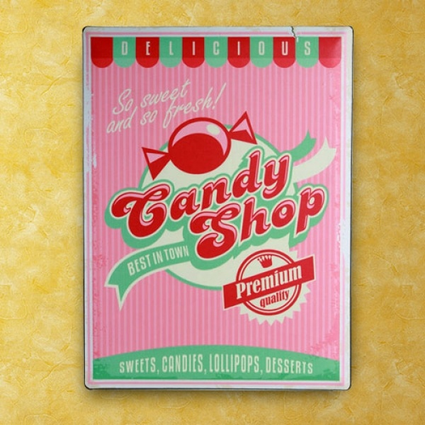 Candy Shop - Metallskilt